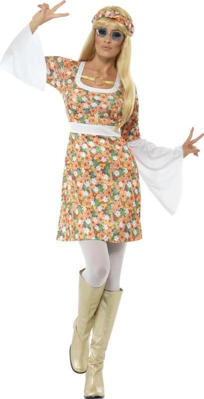 Ladies Flower Power Costume Hippy Outfit (Multicolour)