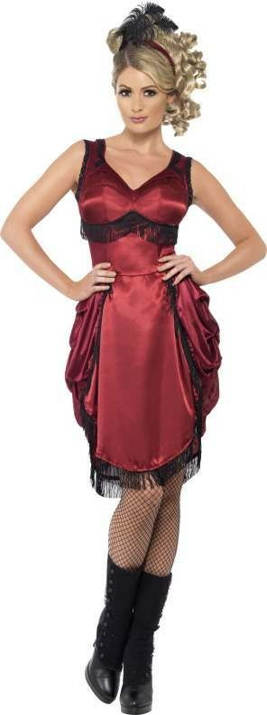 Ladies Western Bar Girl Costume Cowboys/Native Americans Outfit (Red)