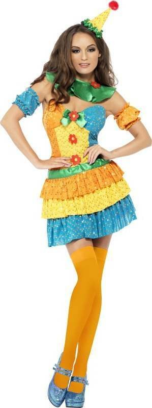 Ladies Fever Colourful Clown Cutie Costume Clowns Outfit