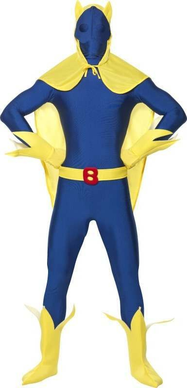 Mens Bananaman Second Skin Costume Tv Outfit (Blue)