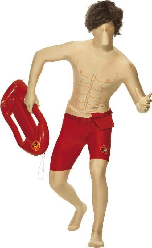 Mens Baywatch Second Skin Costume Tv Outfit (Red)