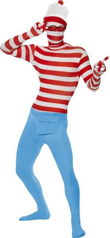 Mens Where'S Wally? Second Skin Costume Cartoon Outfit