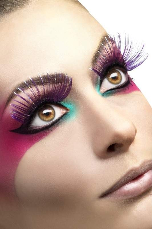 Eyelashes, Large Purple With Metallic Strips Eyelashes