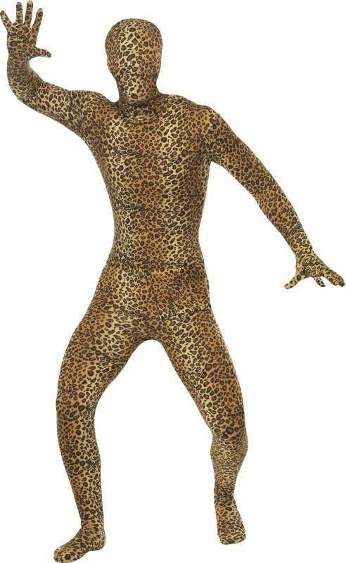 Adult Unisex Second Skin Costume, Leopard Pattern Animal Outfit