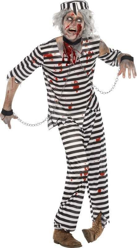 Mens Zombie Convict Costume Halloween Outfit