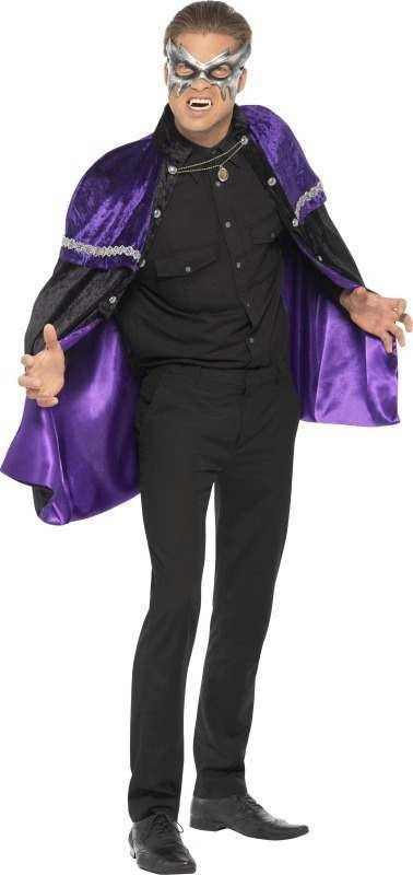 Mens Phantom Masquerade Vampire Cape Halloween Outfit (Black)