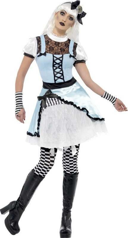 Ladies Gothic Wonderland Costume Halloween Outfit (Blue, White)