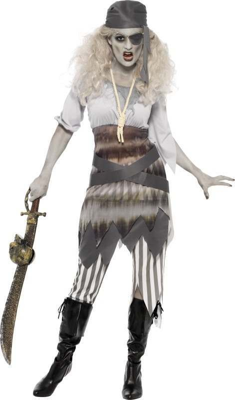 Ladies Ghost Ship Shipwrecked Sweetie Halloween Outfit (Grey)