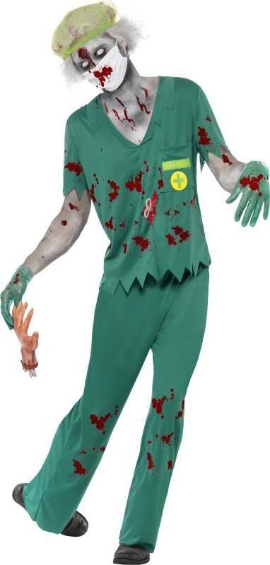 Mens Zombie Paramedic Costume Halloween Outfit (Green)