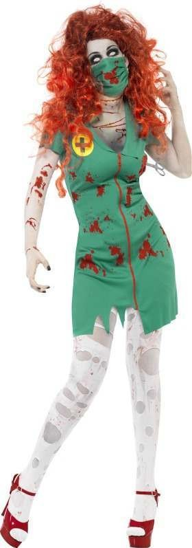 Ladies Zombie Scrub Nurse Costume Halloween Outfit (Green)