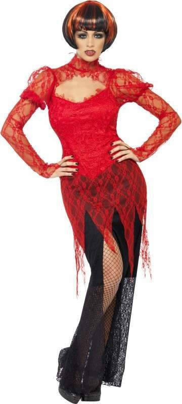 Ladies Lace Vampiress Costume Halloween Outfit (Red)