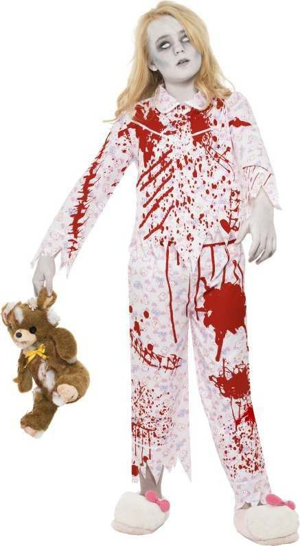 Girls Zombie Pyjama Girl Costume Halloween Outfit (Pink)