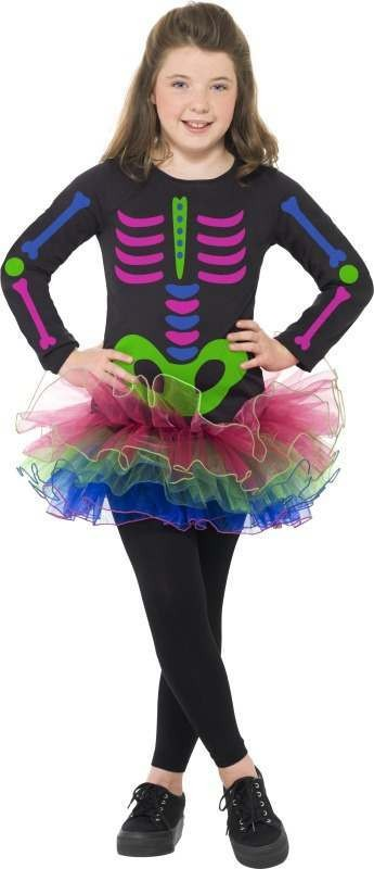 Girls Neon Skeleton Girl Costume Halloween Outfit