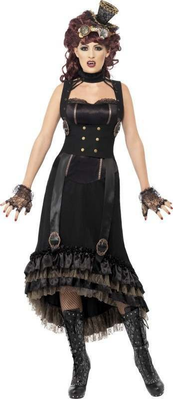 Ladies Steam Punk Vamp Costume Halloween Outfit (Black)