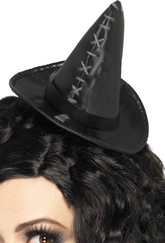 Ladies Stitch Witch Hat Halloween Hats - (Black)