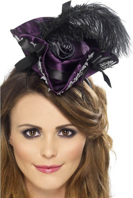 Ladies Miniature Pirate Hat On Headband Hats - (Purple)