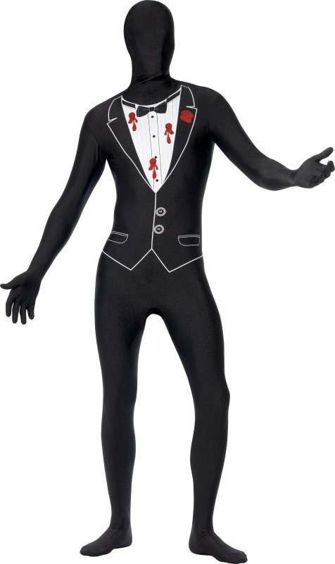 Mens Shot Gangster Second Skin Costume Halloween Outfit (Black)