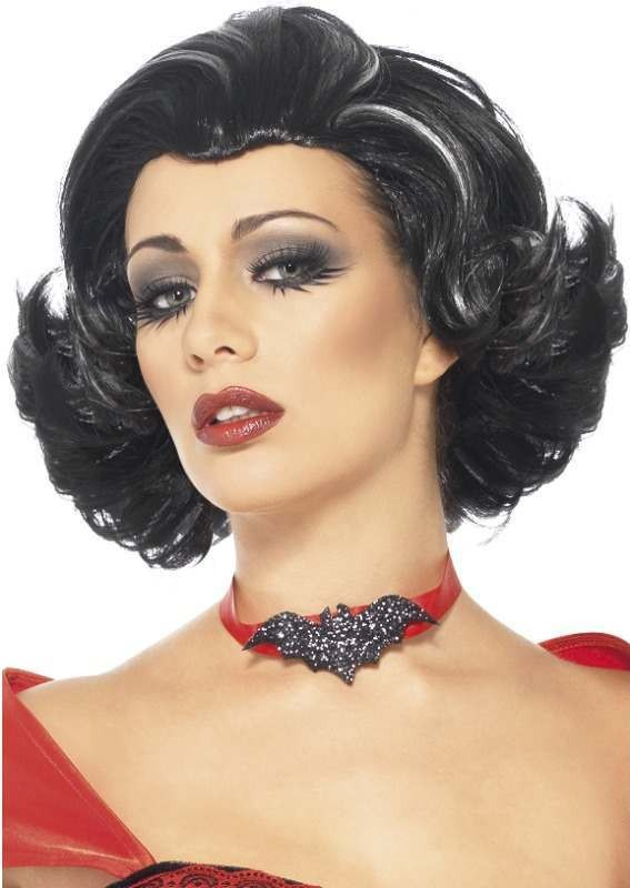 Ladies Bijou Boudoir Vampiress Wig Halloween Wigs - (Black)