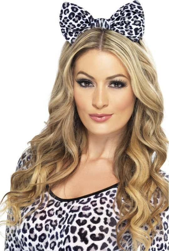 Ladies Leopard Bow On Headband - (White)
