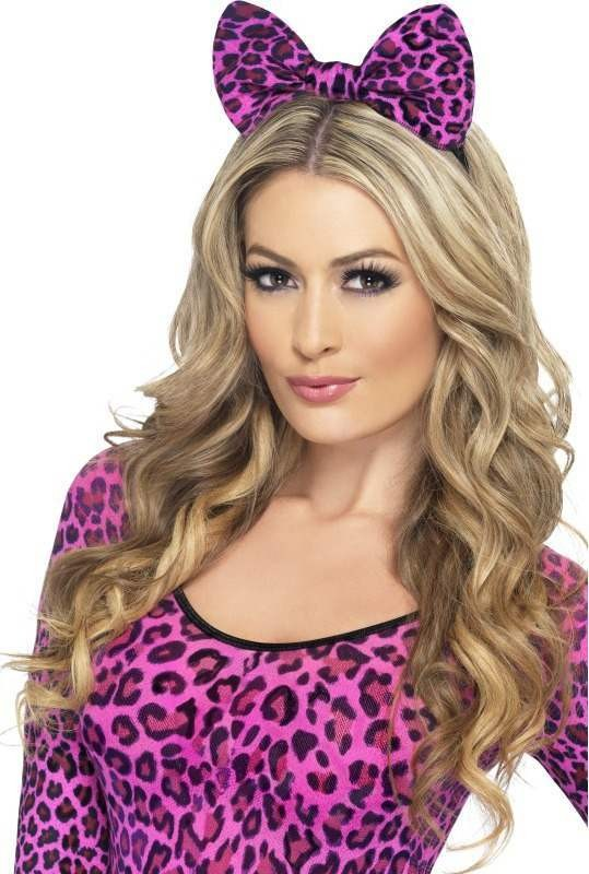 Ladies Leopard Bow On Headband - (Pink)