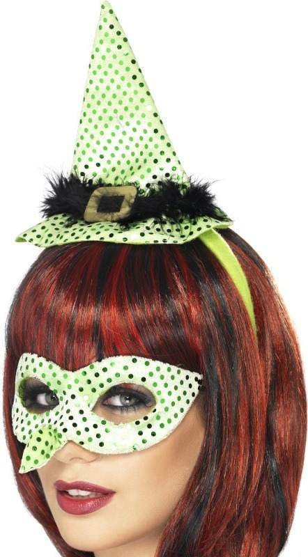 Ladies Wicked Witch Instant Kit Halloween Eyemasks - (Green)