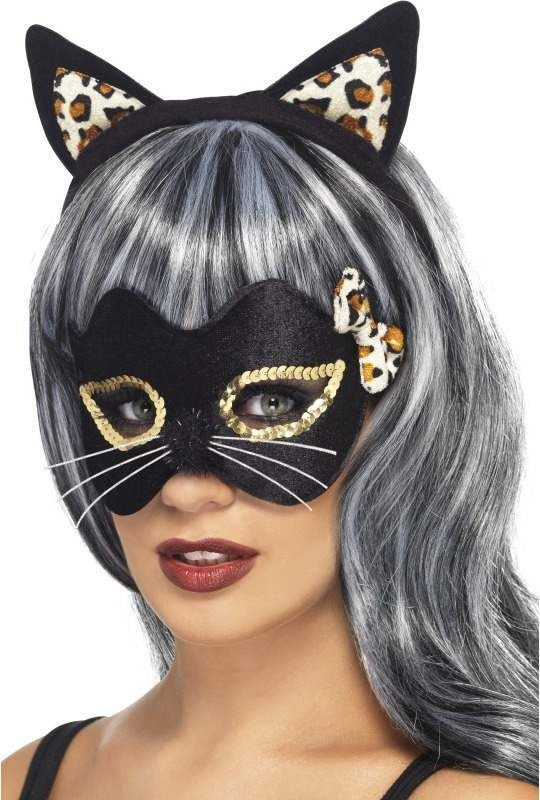 Ladies Midnight Kitty Eye Mask And Ear Set Halloween Eyemasks - (Black)