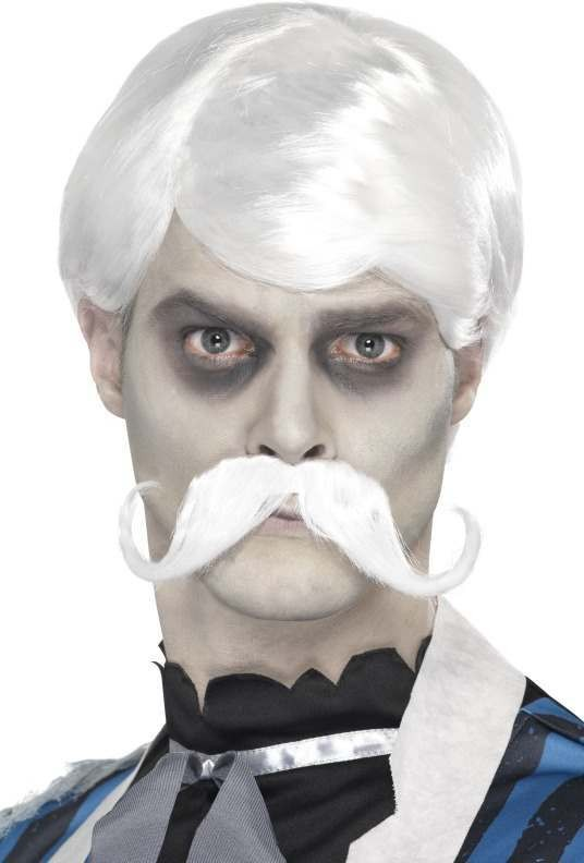 Mens Ghost Town Bar Keeper Wig And Moustache Halloween Wigs - (White)