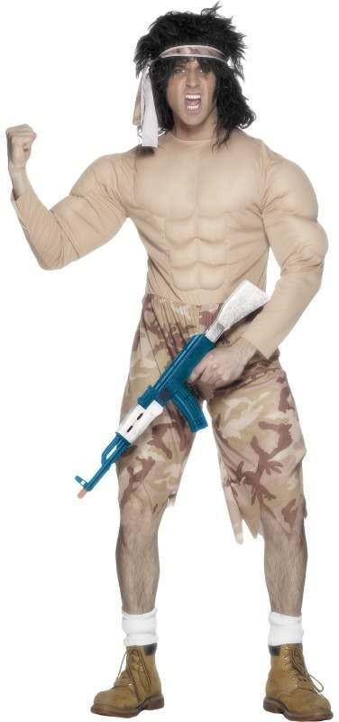 Muscleman Fancy Dress Costume Mens (Army)