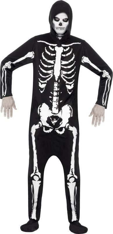 Mens Skeleton Costume Halloween Outfit (Black)