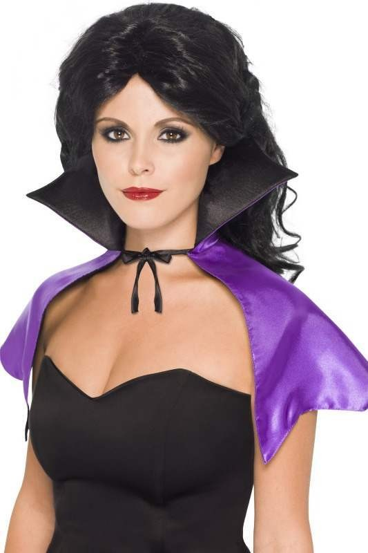Ladies Mini Witches Cape Halloween - (Purple)