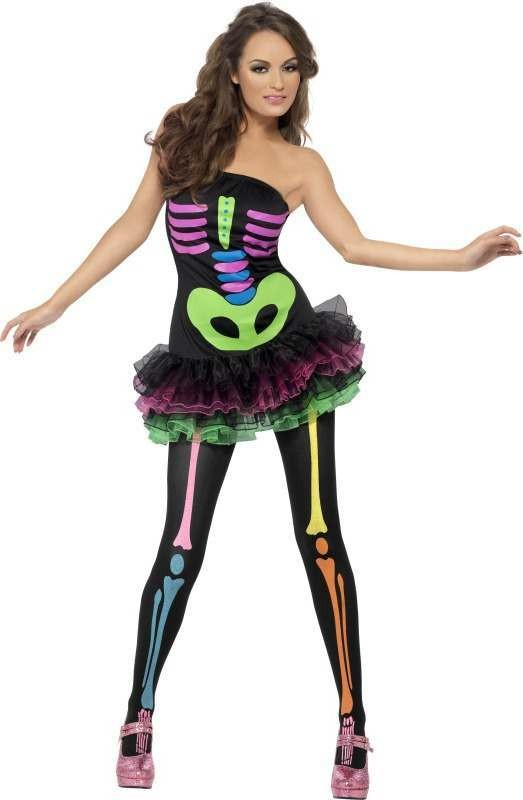 Ladies Fever Neon Skeleton Costume Halloween Outfit (Black)