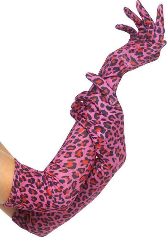 Gloves, Leopard Print Gloves - (Pink)