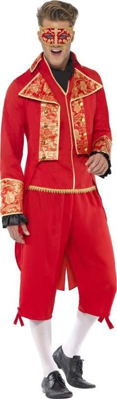 Mens Devil Masquerade Costume Halloween Outfit (Red)
