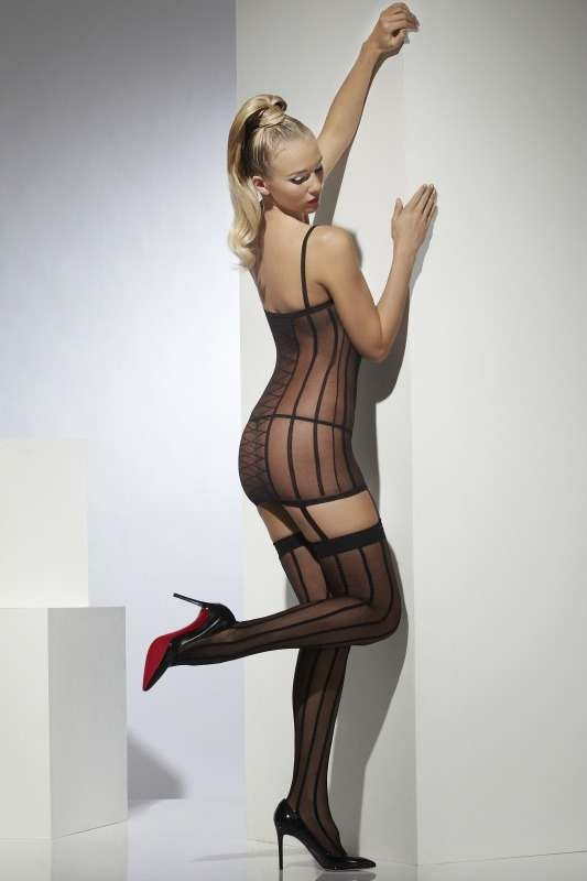 Sheer Dress With Stockings - (Black)