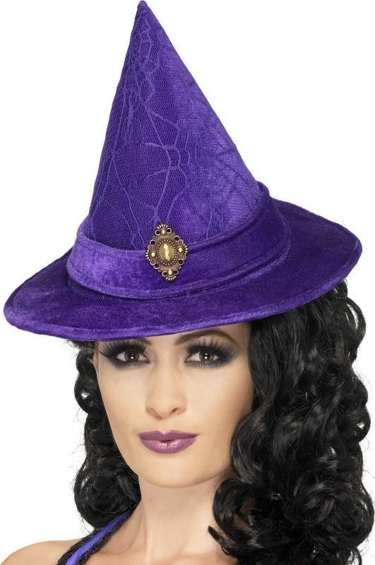 Ladies Elegant Witch Hat Halloween Hats - (Purple)
