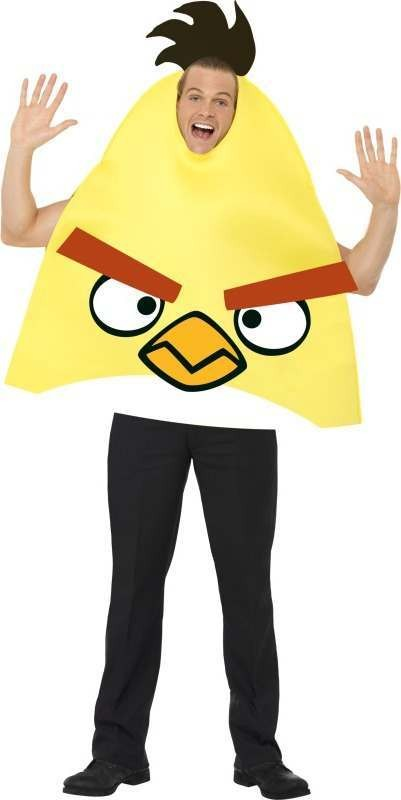 Mens Angry Birds Costume Game Outfit - Chest 38-40 (Yellow)
