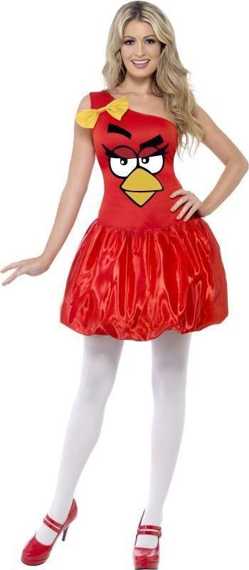 Ladies Angry Birds Female Costume Game Outfit (Red)
