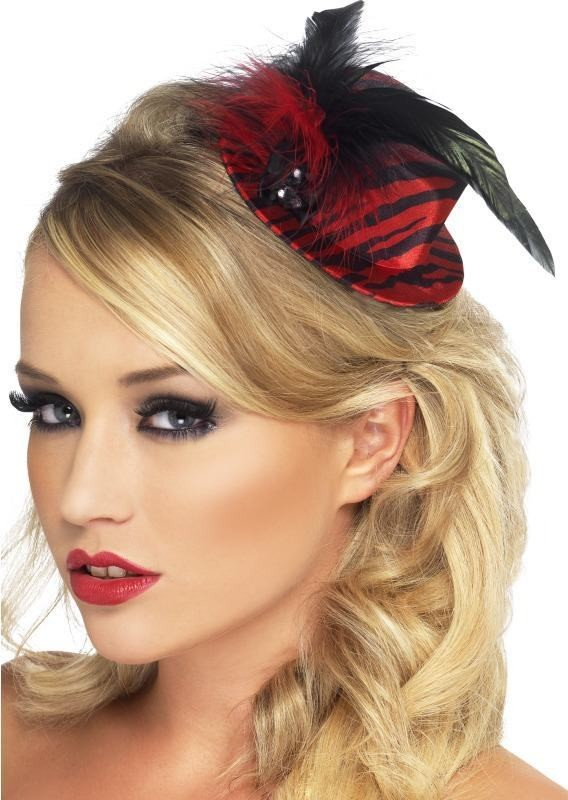 Ladies Fever Burlesque Red And Black Mini Tophat Hats