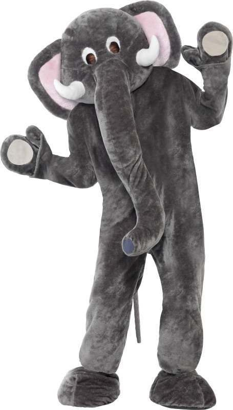 Mens Elephant Mascot Costume Animal Outfit - One Size (Grey)