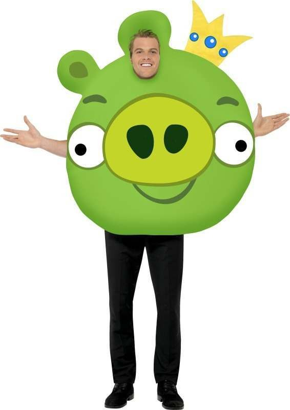 Mens Angry Birds Pig Costume Videogames Outfit (Green)