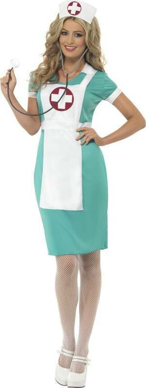 Ladies Scrub Nurse Costume Doctors/Nurses Outfit (Green)