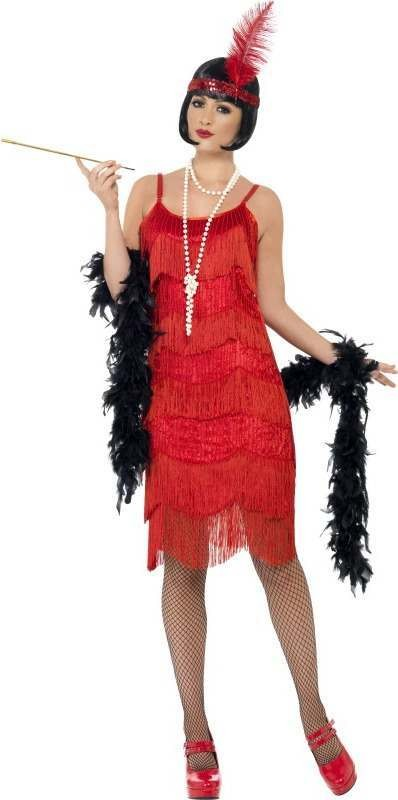 Ladies Flapper Shimmy Costume 1920'S Outfit (Red)