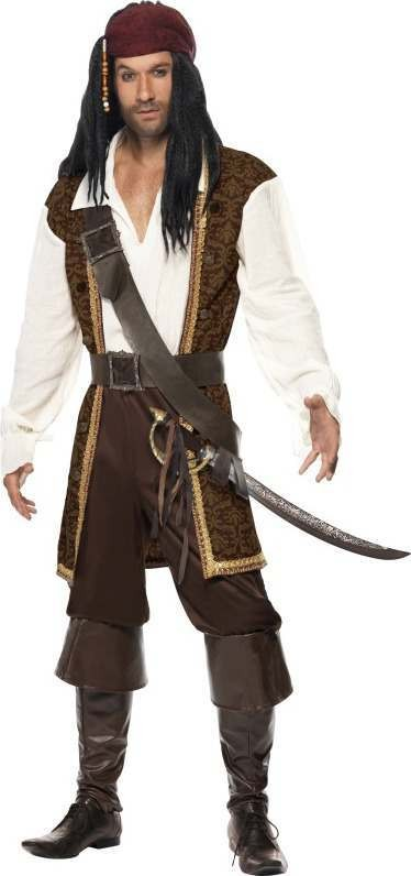 Mens High Seas Pirate Costume Pirates Outfit (Brown)