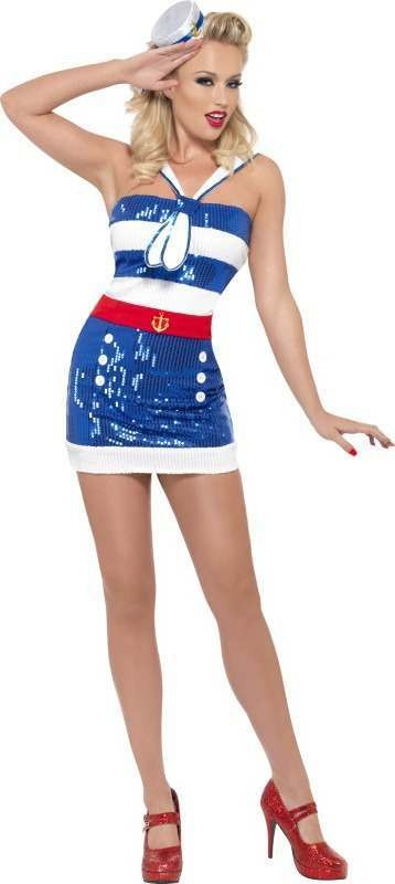 Ladies Fever Sequin Sailor Costume Sailor Outfit (Blue)