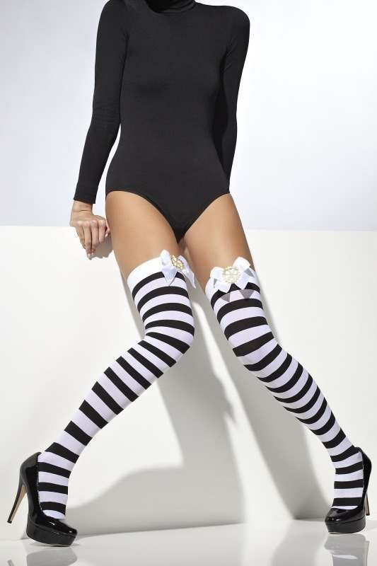 Opaque Hold-Ups Tights - (Black, White)