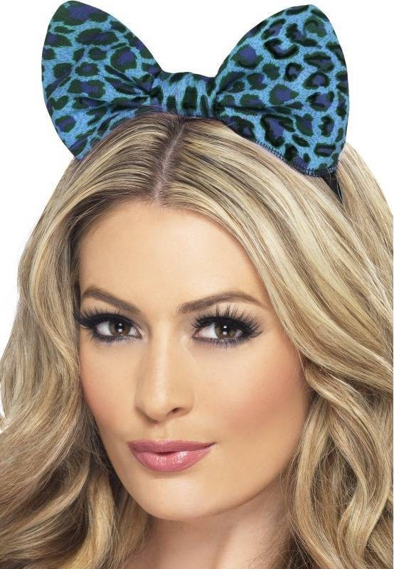 Ladies Leopard Bow On Headband - (Blue)