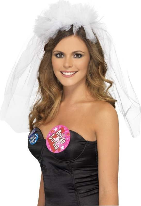 Ladies Hen Night Veil On Headband Hen & Stag - (White)