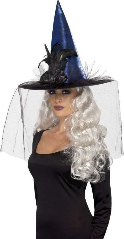 Ladies Witches Hat Halloween Hats - (Blue)