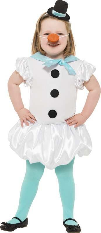 Girls Puffball Snowgirl Costume Christmas Outfit -