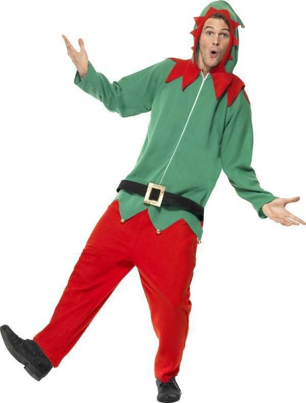 Mens Elf Costume Christmas Outfit (Green)